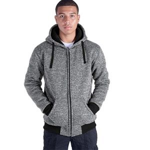 HanTon Gray Men's Sherpa-Lined Full-Zip Hoodie XXL